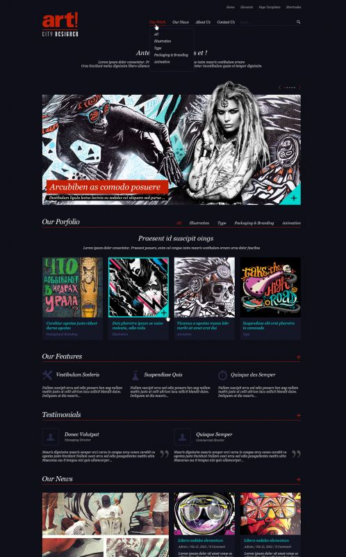 Art/Portfolio WordPress Theme - ArtCityDesigner - Home