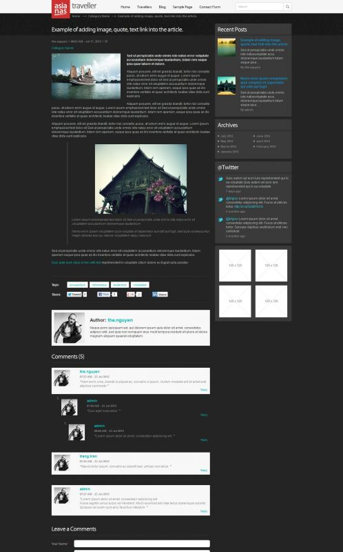 Travel Magazine Wordpress Theme - AsianasTraveller - Details