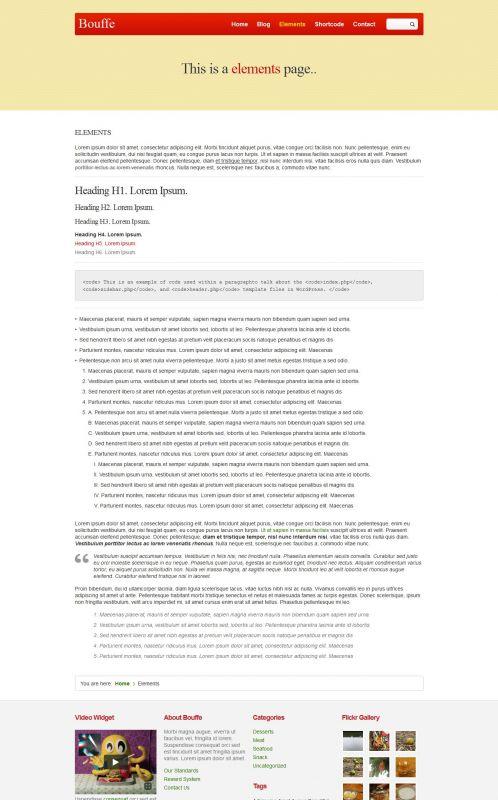 Portfolio WordPress Theme - BouffeFood - Elements