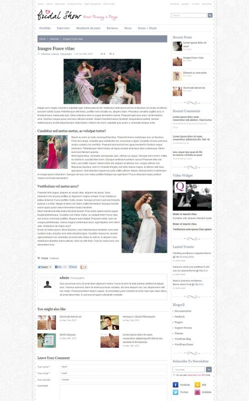 Bridal/Wedding WordPress Theme - Bridal Show - Detail