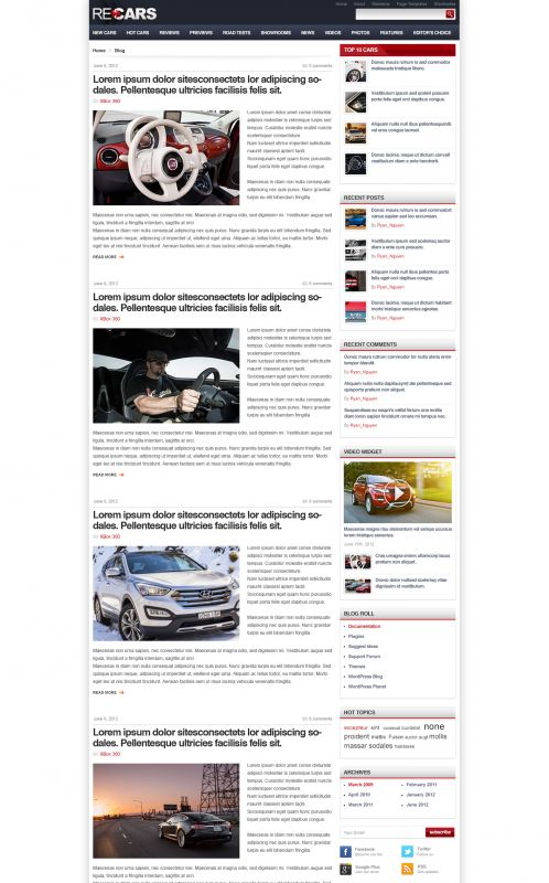 Cars Magazine/Review Wordpress Theme - CarsReview - Blog