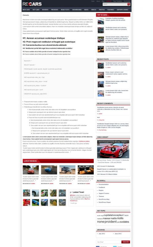 Cars Magazine/Review Wordpress Theme - CarsReview - Elements