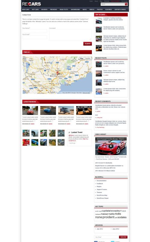 Cars Magazine/Review Wordpress Theme - CarsReview - Contact