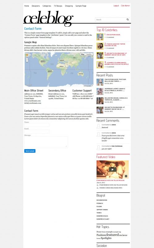 News/Blog Magazine WordPress Theme - CeleBlog - Contact