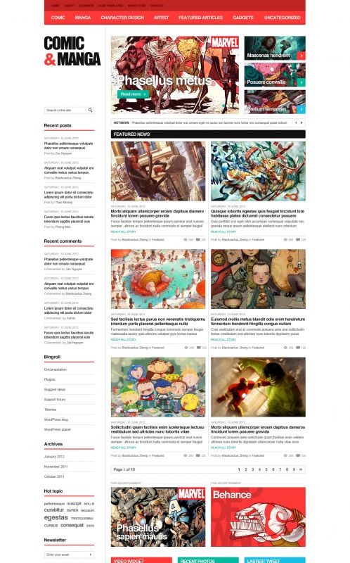 comic wordpress theme comicmag wordpress themes wordpress