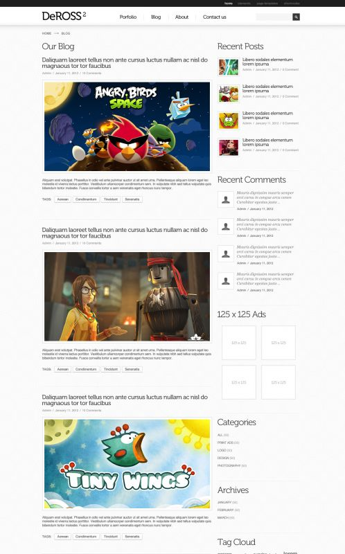 Portfolio WordPress Theme -DeRoss - Blog