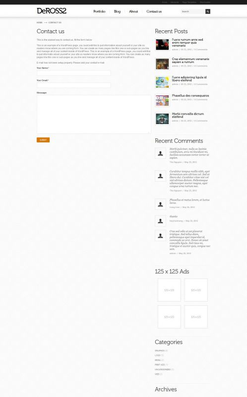 Portfolio WordPress Theme -DeRoss - Contact