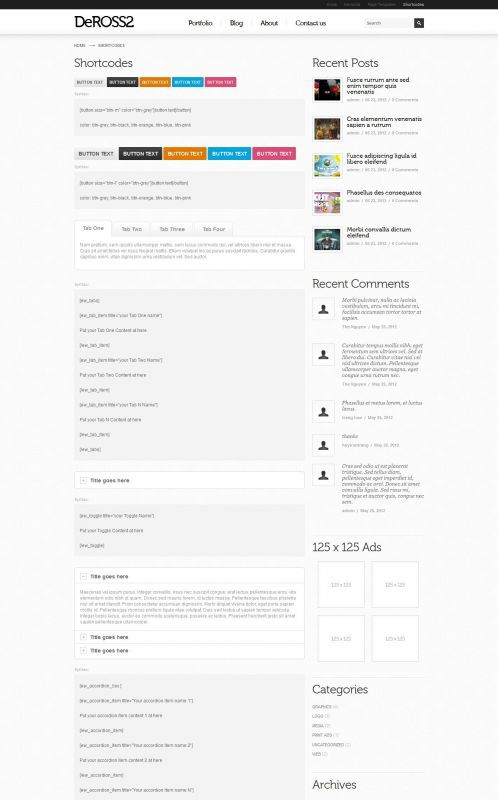 Portfolio WordPress Theme -DeRoss - Shortcodes