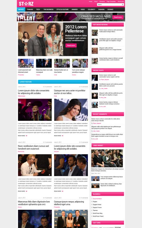 Showbiz News Wordpress Theme - Entertainment - Home