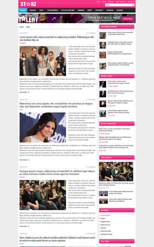 Showbiz News Wordpress Theme - Entertainment - Blog