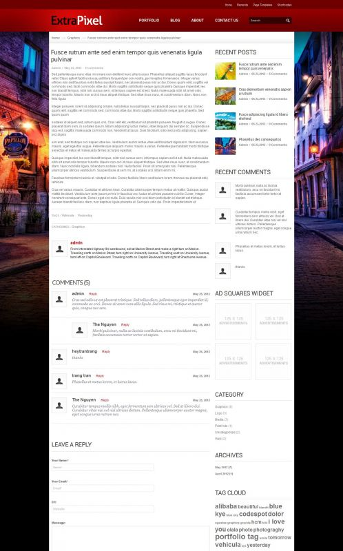 Artwork/Photography Wordpress Theme - ExtraPixel - Details