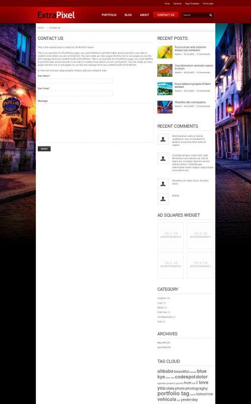 Artwork/Photography Wordpress Theme - ExtraPixel - HomeArtwork/Photography Wordpress Theme - ExtraPixel - Contact