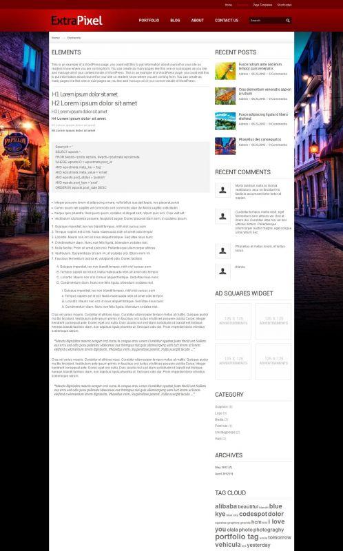 Artwork/Photography Wordpress Theme - ExtraPixel - Elements