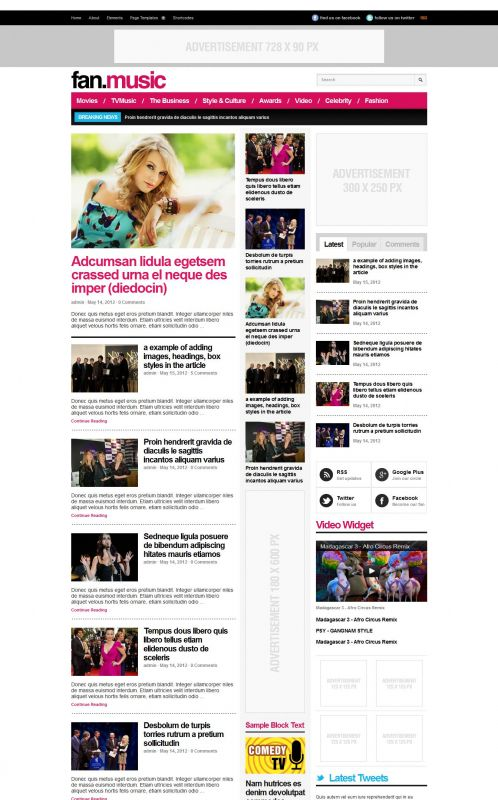 Music Magazine Wordpress Theme - FanMusic - Home