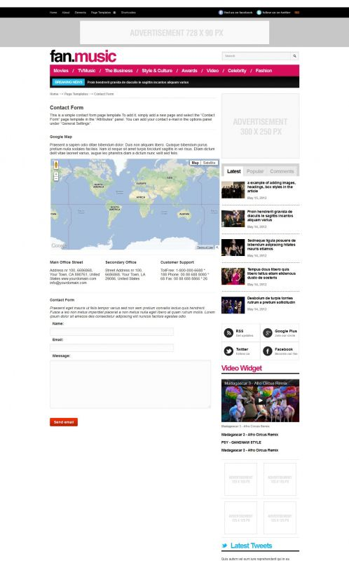 Music Magazine Wordpress Theme - FanMusic - Contact