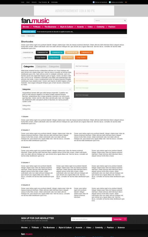Music Magazine Wordpress Theme - FanMusic - Shortcodes