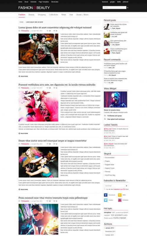Fashion Magazine WordPress Theme - FashionMag - Blog