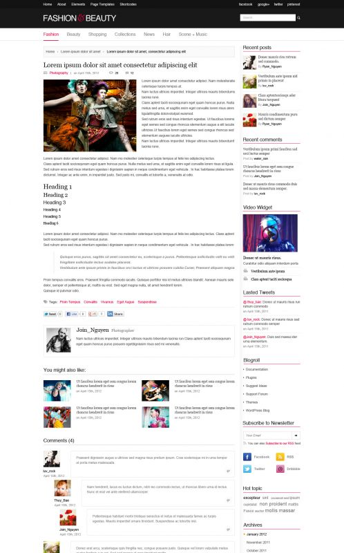 Fashion Magazine WordPress Theme - FashionMag - Details