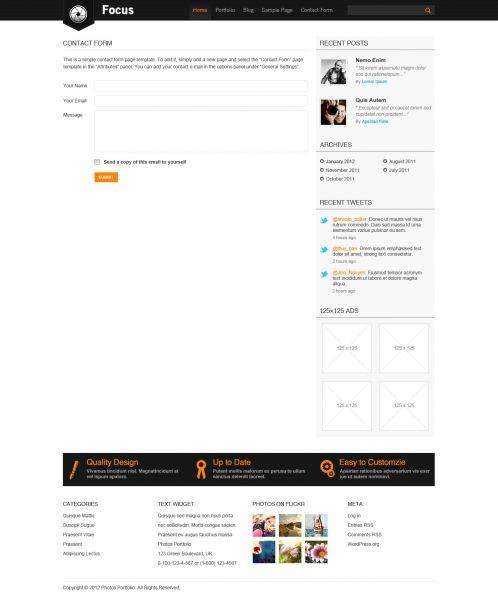 Portfolio/Business WordPress Theme - Focus - Contact