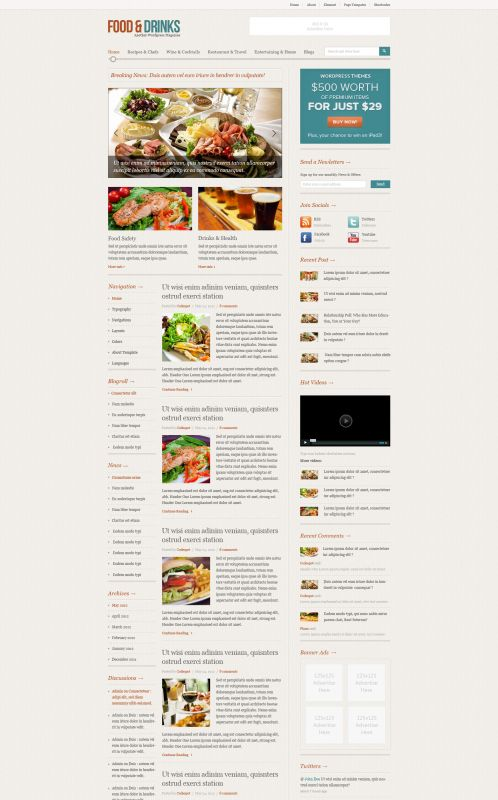 Food/Restaurant WordPress Theme - FoodMag - Home