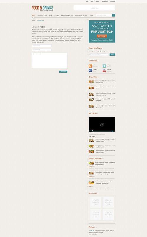 Food/Restaurant WordPress Theme - FoodMag - Contact