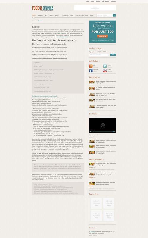 Food/Restaurant WordPress Theme - FoodMag - Elements