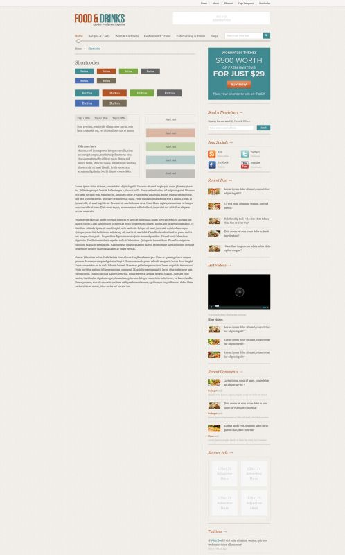 Food/Restaurant WordPress Theme - FoodMag - Shortcodes