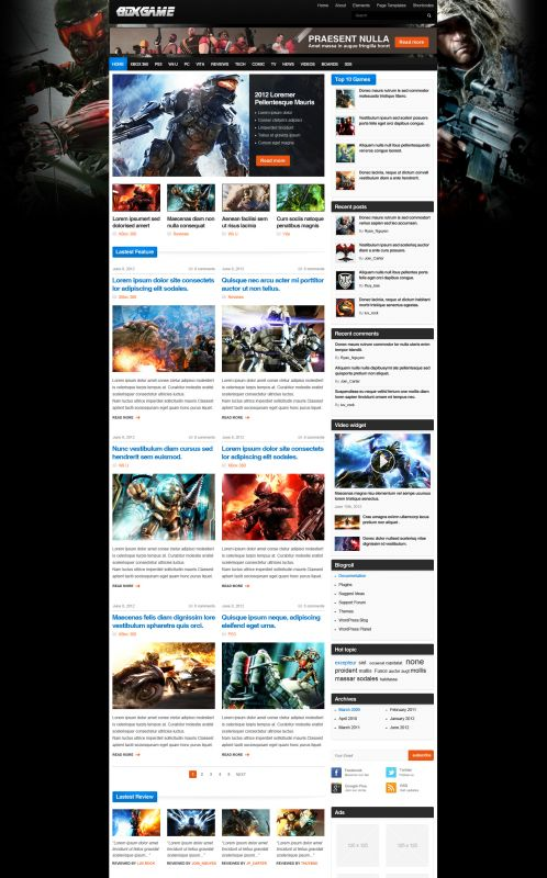 Gaming Magazine WordPress Theme - GameMag - Home