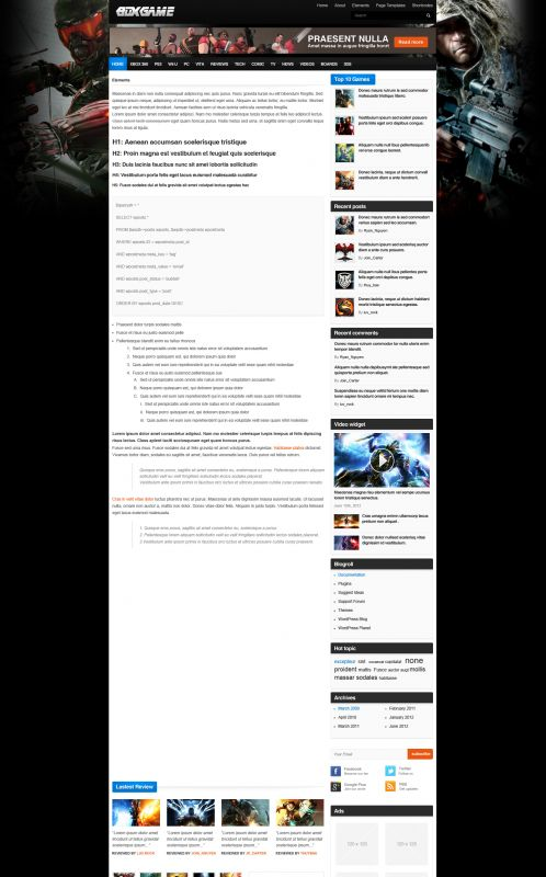 Gaming Magazine WordPress Theme - GameMag - Element