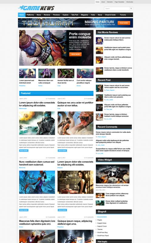 Gaming Magazine WordPress Theme - GameNews - Home
