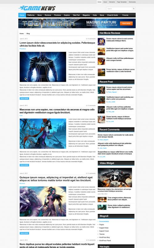 Gaming Magazine WordPress Theme - GameNews - Blog
