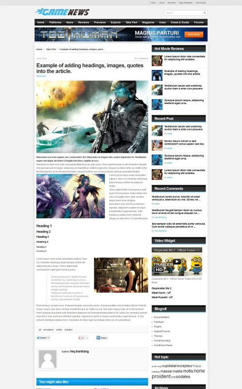 Gaming Magazine WordPress Theme - GameNews - Details