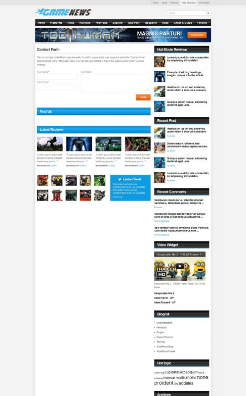 Gaming Magazine WordPress Theme - GameNews - Contact