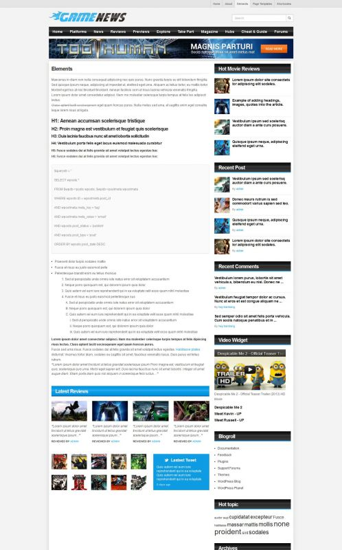 Gaming Magazine WordPress Theme - GameNews - Elements