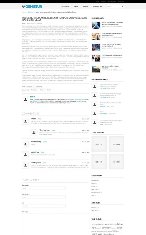 Business/Coporate Wordpress Theme - GenisCoporate - Details