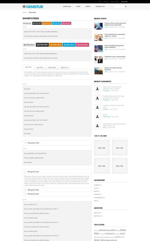 Business/Coporate Wordpress Theme - GenisCoporate - Shortcodes