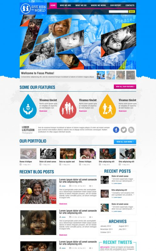 Children/Organizations WordPress Theme - GiveKidsTheWorld - Home
