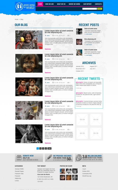 Children/Organizations WordPress Theme - GiveKidsTheWorld - Blog