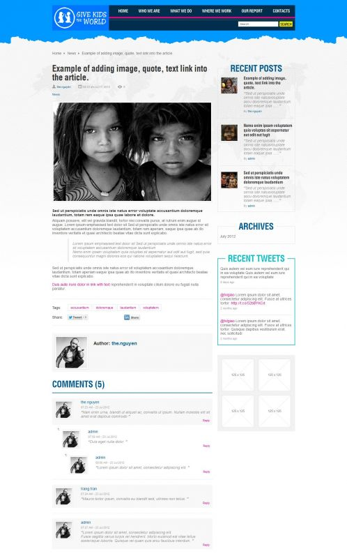 Children/Organizations WordPress Theme - GiveKidsTheWorld - Details
