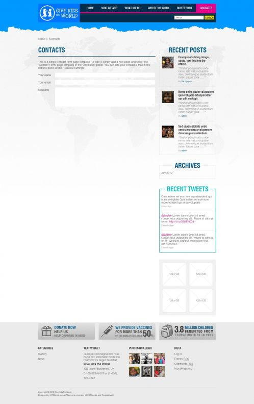 Children/Organizations WordPress Theme - GiveKidsTheWorld - Contact