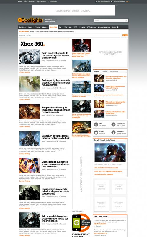 Game Magazine WordPress Theme - Gspotlights - Catagory