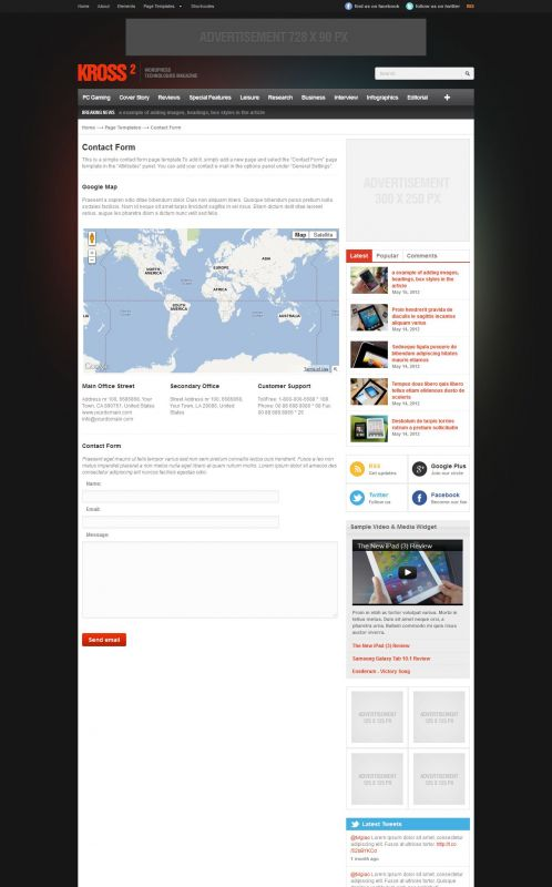 Technology WordPress Theme - Kross2 - Contact
