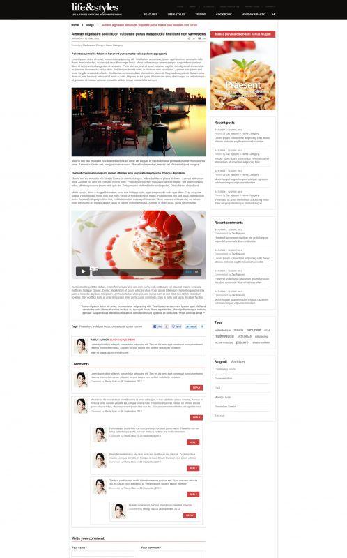Lifestyle Magazine Wordpress Theme - Lifestyle - Details