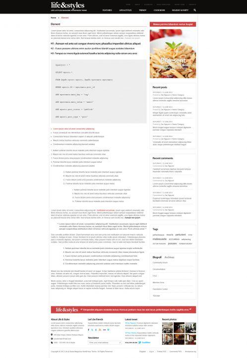 Lifestyle Magazine Wordpress Theme - Lifestyle - Elements