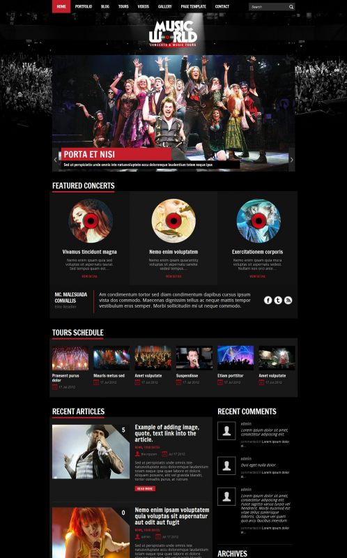 Music/Portfolios Wordpress Theme - MusicTours - Home