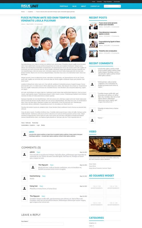Corporate/Business WordPress Theme - RisusUnit - Details
