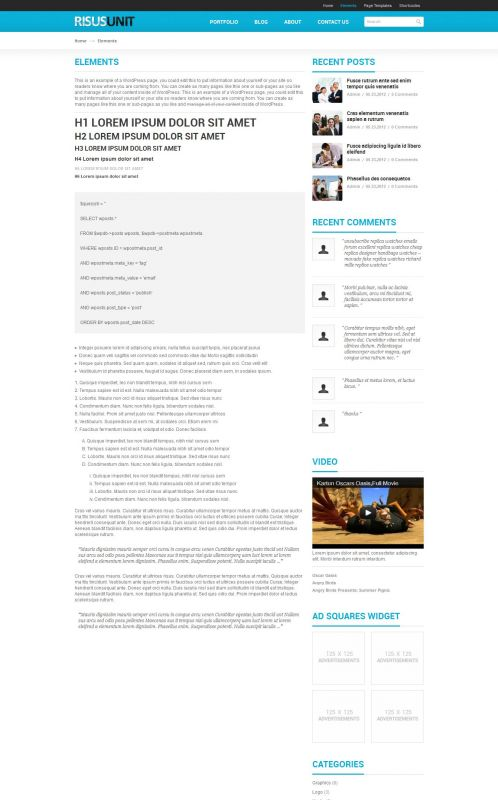 Corporate/Business WordPress Theme - RisusUnit - Elements
