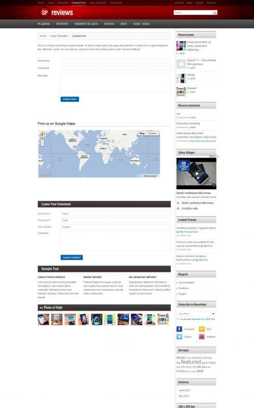 Smartphones Magazine WordPress Theme -Smartphones - Contact