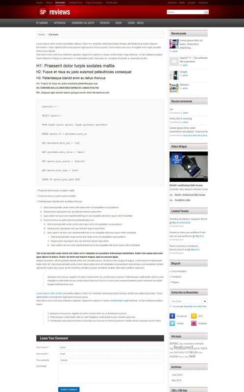 Smartphones Magazine WordPress Theme -Smartphones - Elements
