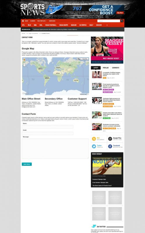 Sport Magazine WordPress Theme - SportNews - Contact